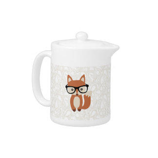 Hipster Baby Fox w/Glasses Teapot