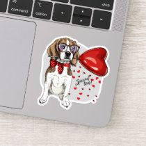 Hipster Beagle Puppy Dog Love Heart Balloon Sticker