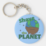 Hipster Bearded Earth Day Shave (Save) The Planet Basic Round Button Keychain