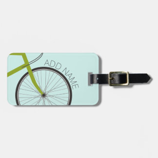Hipster Bicycle Wheel with Custom Name Bag Tag