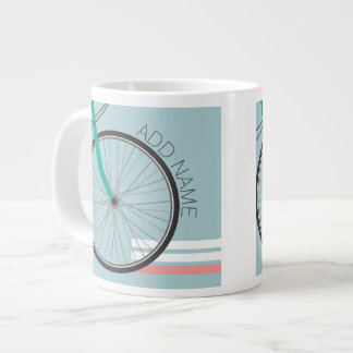 Hipster Bicycle Wheel with Custom Name Large Coffee Mug