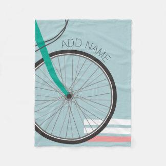 Hipster Bicycle Wheel with Custom Name Fleece Blanket