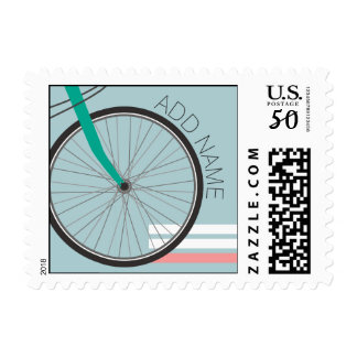 Hipster Bicycle Wheel with Custom Name Postage