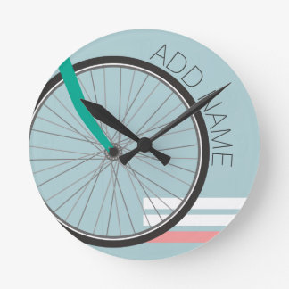 Hipster Bicycle Wheel with Custom Name Round Clock