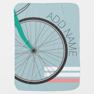 Hipster Bicycle Wheel with Custom Name Swaddle Blanket