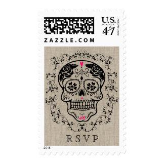 Hipster Black and Pink Sugar Skull Burlap RSVP Postage