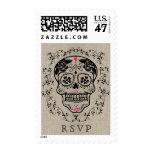 Hipster Black and Pink Sugar Skull Burlap RSVP Stamp