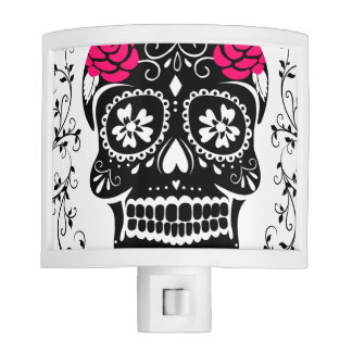 Hipster Black and Pink Sugar Skull Night Light