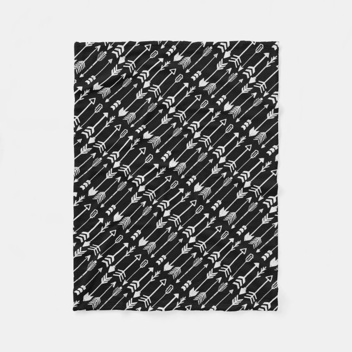 Hipster Black and White Arrow Pattern Fleece Blanket | Zazzle