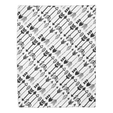 Aztec Themed Hipster Black and White Aztec Arrow Pattern Duvet Cover