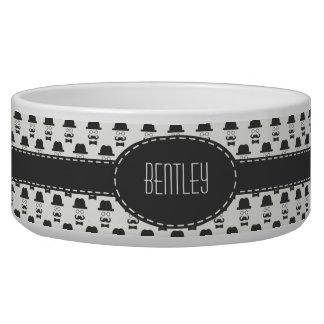 Hipster Black & Ivory Custom Pet Bowl