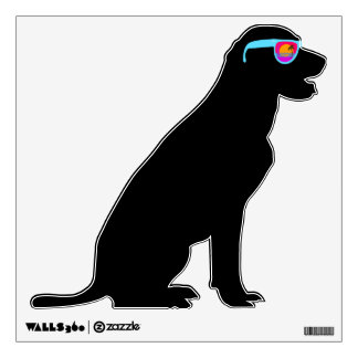Hipster Black Lab in Sunglasses Room Decal