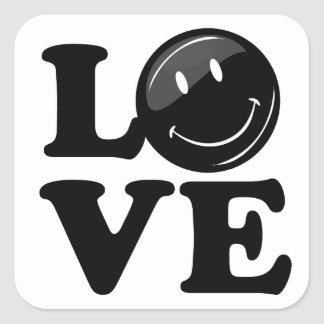 Hipster Black Smiley Gothic Love Sign Square Sticker