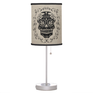 Hipster Black Sugar Skull Burlap Desk Lamp