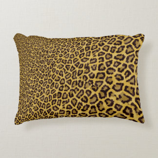 Hipster Black Yellow Animal Print Pattern Accent Pillow