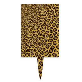 Hipster Black Yellow Animal Print Pattern Cake Topper