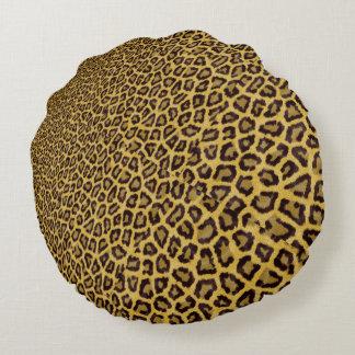 Hipster Black Yellow Animal Print Pattern Round Pillow