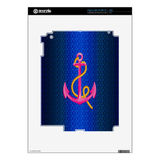 Hipster Blue nautical anchor on blue waves Templet iPad 2 Decals