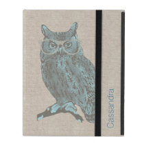 Hipster Blue Owl Custom iPad Case