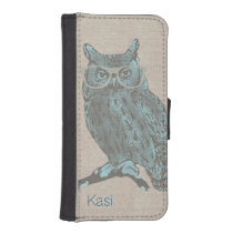 Hipster Blue Owl iPhone 5S Wallet Case