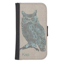 Hipster Blue Owl Samsung S4 Wallet Case