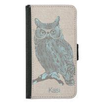 Hipster Blue Owl Samsung S5 Wallet Case
