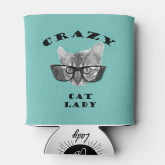 Hipster Blue Popular Crazy Cat Lady Humour Can Cooler