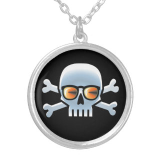 Hipster Blue Skull Silver Plated Necklace