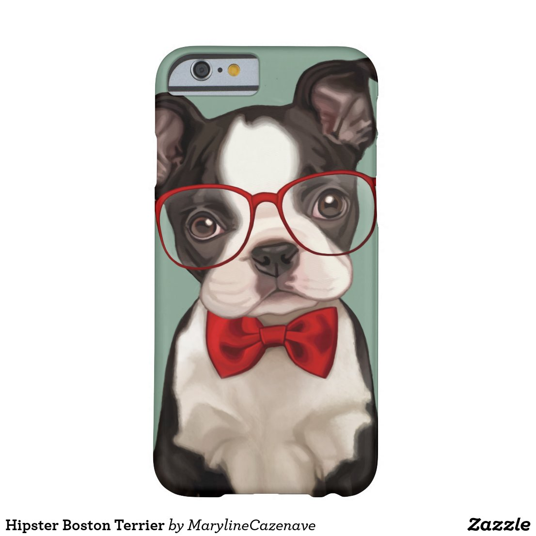 Hipster Boston Terrier Barely There iPhone 6 Case