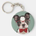 Hipster Boston Terrier Basic Round Button Keychain