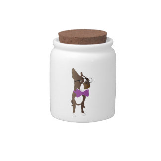 Hipster Boston Terrier Candy Dishes