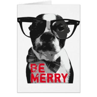 Hipster Boston Terrier Christmas Card