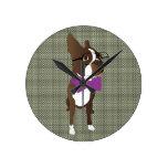 Hipster Boston Terrier Clock