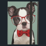 """Hipster Boston Terrier Cover For iPad Air<br><div class=""""desc"""">Cute illustration of a hipster style boston terrier puppy wearing eye glasses and chic red bow tie on blue background. Designed by Maryline Cazenave.</div>"""