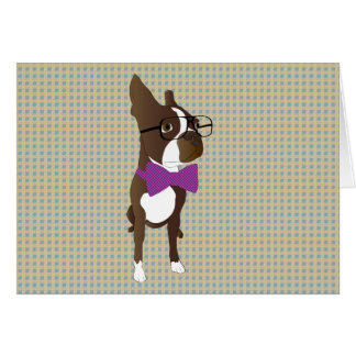 Hipster Boston Terrier Greeting Card