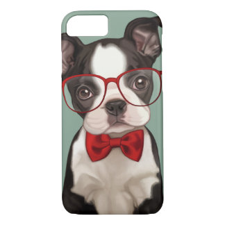 Hipster Boston Terrier iPhone 8/7 Case