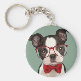 Hipster Boston Terrier Keychain