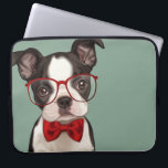"Hipster Boston Terrier Laptop Sleeve<br><div class=""desc"">Cute illustration of a hipster style boston terrier puppy wearing eye glasses and chic red bow tie on blue background. Designed by Maryline Cazenave.</div>"