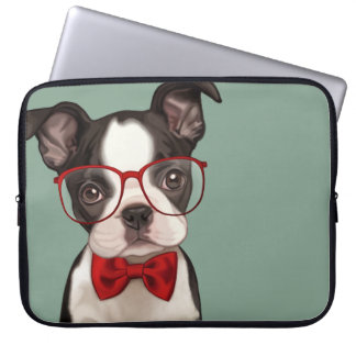 Hipster Boston Terrier Laptop Sleeve