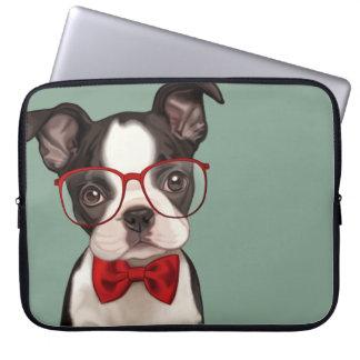 Hipster Boston Terrier Laptop Sleeve