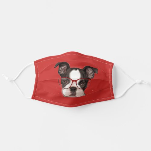 Hipster Boston Terrier Pup Adult Cloth Face Mask