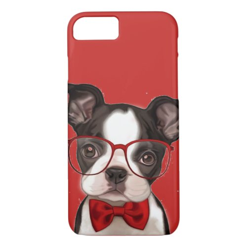 Hipster Boston Terrier Pup Phone Case