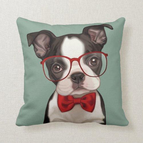 Hipster Boston Terrier Throw Pillow