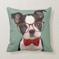 Hipster Boston Terrier Throw Pillow