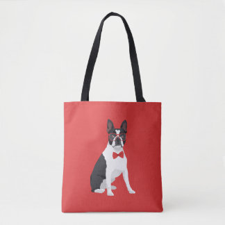 Hipster Boston Terrier with Red Glasses & Bow Tie Tote Bag