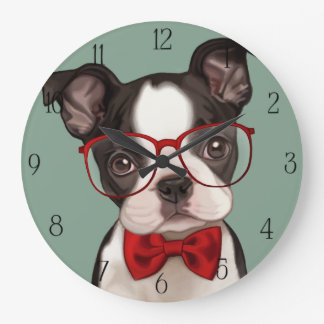 Hipster Boxer Puppy Large Clock
