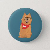 Hipster Brown Cairn Terrier with Red Bone Bandana Button