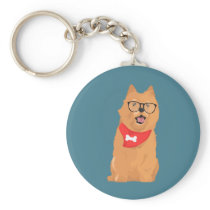 Hipster Brown Cairn Terrier with Red Bone Bandana Keychain