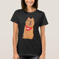 Hipster Brown Cairn Terrier with Red Bone Bandana T-Shirt