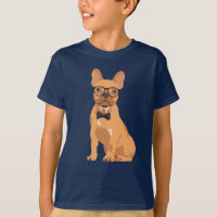 Hipster Brown French Bulldog Puppy for Dog Lovers T-Shirt